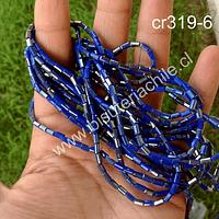 Cristal tubo facetado, color azul de 2 x 5 mm, tira de 100 cristales aprox.