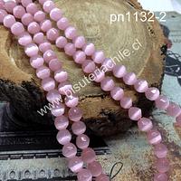 Ojo de gato facetado en color rosado, 6 mm,, tira de 65 piedras aprox