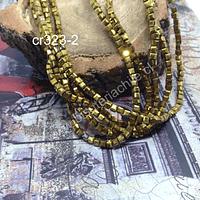 Cristal facetado dorado cuadrado, 3 mm, tira de 99 cristales aprox.