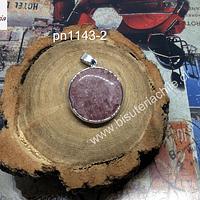 Colgante ópalo rosa, con borde plateado, 27 mm de diámetro, por unidad