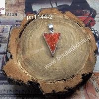 Colgante druzy de agata, con borde plateado, 21 mm de largo x 16 mm de ancho, por unidad