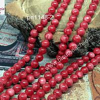 Madre Perla roja 6 mm, tira de 68 piedras aprox