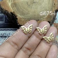 Dije acero dorado en forma de mariposa, 15 x 10 mm, set de 3 unidades