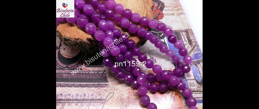 Agata facetada color lila 8 mm tira de 47 piedras aprox.