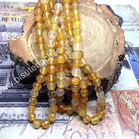 Agata facetada 6 mm en tonos amarillos, tira de 62 piedras aprox.