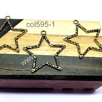 Colgante dorado en forma de estrella, 35 x 35 mm, set de 3 unidades