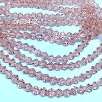 Cristal tupi 6 mm en color rosado, tira de 50 cristales aprox.