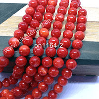 Madre perla color naranjo en 8 mm, tira de 48 piedras aprox.