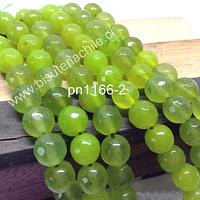 Agata facetada de 8 mm en tonalidades verde limón, tira de 48 unidades aprox.