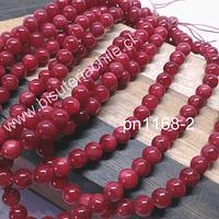 Madre perla en tono rojo de 4 mm, tira de 85 piedras aprox.
