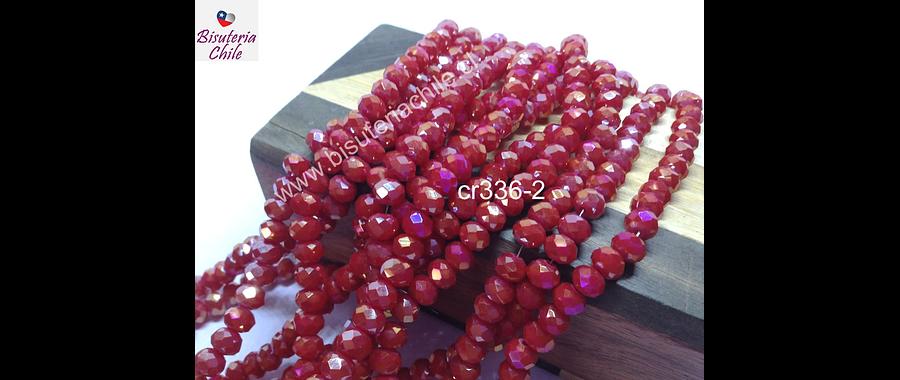 Cristal 6 mm rojo con tonalidades tornasol, tira de 98 cristales aprox