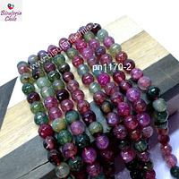 Agata de 6 mm, en tonos verdes y rosados, tira de 60 piedras aprox