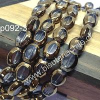 Vidrio en color transparente con aplicaciones de cobre, 12 x 10 mm, tira de 24 perlas aprox
