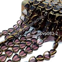 Vidrio en color ciruela con aplicaciones de cobre en forma de cobre, 10 mm de diámetro por 10 mm de ancho, tira de 30 perlas aprox.