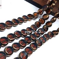 Vidrio y cobre en tono café, 7 mm de diámetro y 5 mm de ancho, tira de 40 aprox