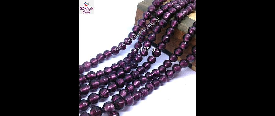 Perla de vidrio hindú morado, de 8 mm, tira de 35 unidades aprox.