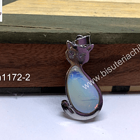Colgante piedra luna con forma de gato, 40 x 21 mm, por unidad