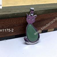 Colgante jade con forma de gato, 40 x 21 mm, por unidad