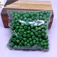 Cuenta de madera color verde 6 mm, bolsa de 25 grs.