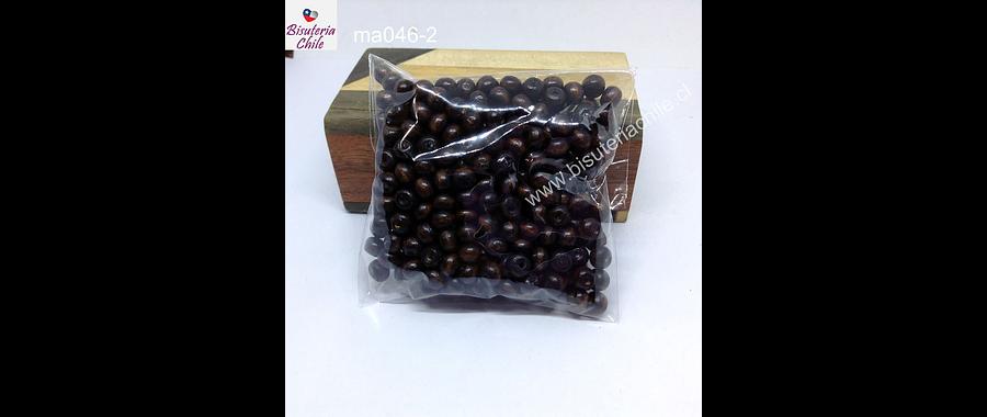 Cuenta de madera color café oscuro 6 mm, bolsa de 25 grs.