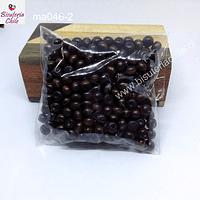 Cuenta de madera color café medio oscuro oscuro 6 mm, bolsa de 25 grs.