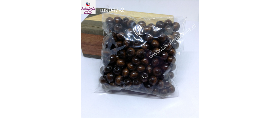 Cuenta de madera color madera oscuro 8 mm, bolsa de 25 grs. , 150 cuentas aprox