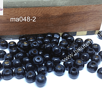 Cuenta de madera color negro 8 mm, bolsa de 25 grs. , 150 cuentas aprox