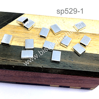 Separador plateado, tope para gamuza o cuero, 9 x 6 mm, agujero 5 x 2 mm, set de 13 unidades