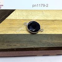 Dije doble conexión obsidiana negra, 16 mm de diámetro, por unidad