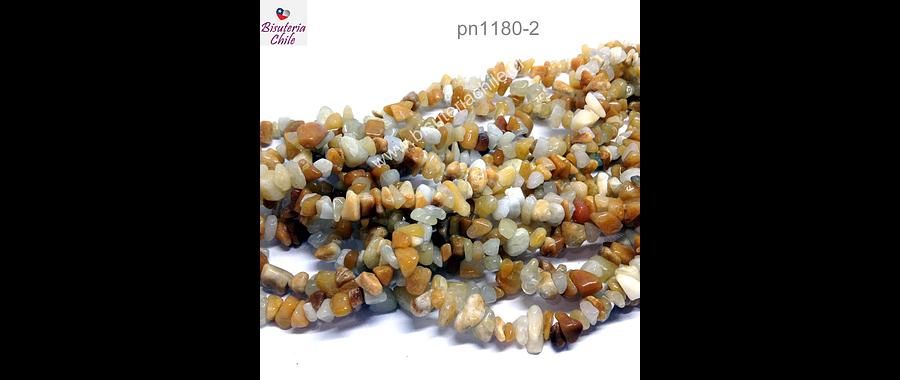 Jade amarillo, piedra chip, piedra pequeña, tira de 80 cm aprox.