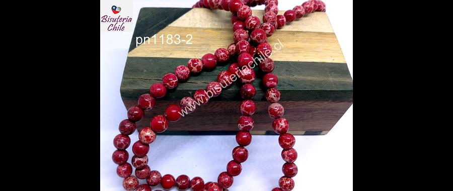 Turquesa imperial 6 mm, en tonos rojos, tira de 64 ´piedras aprox