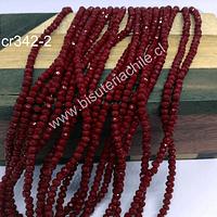 Cristal facetado color rojo de 2 x 2 mm, tira de 190 cristales