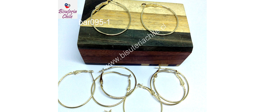 Base de aro argolla dorada con cierre, 34 mm de diámetro, 1 mm de grosor, set de 5 pares