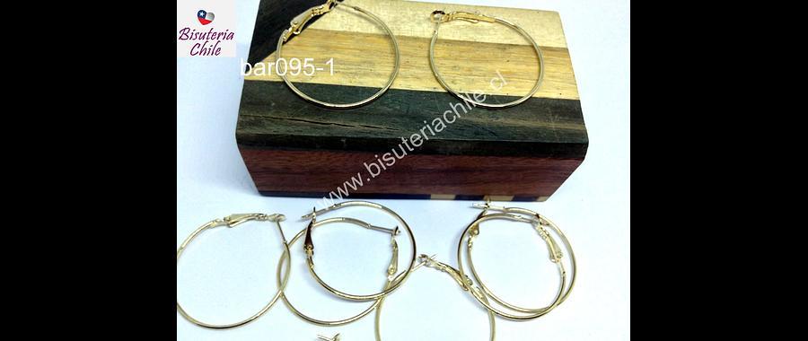 Base de aro argolla dorada con CIERRE, 30 mm de diámetro, 1 mm de grosor, set de 5 pares