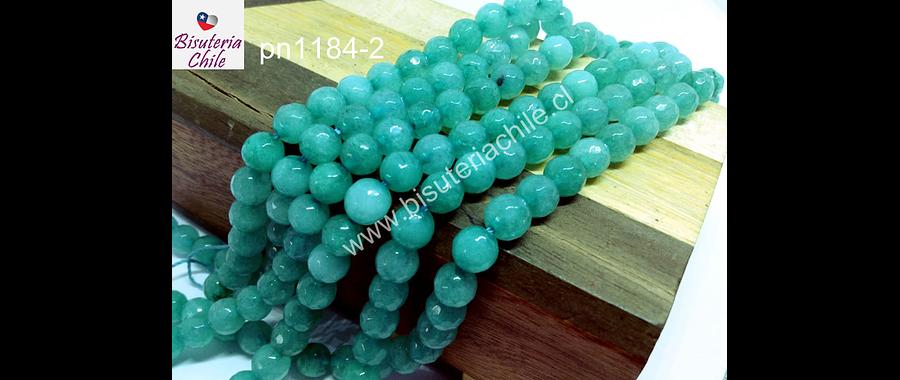 Agata de 6 mm, en tonos jade, tira de 60 piedras aprox