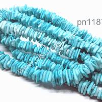Nacar picado en color jade entre 8 y 10 mm x 1 mm, tira de 41 cm aprox