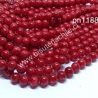 Madre perla color rojo en 8 mm, tira de 48 piedras aprox.