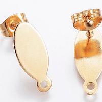 Base de aro acero inoxidable dorado, 16 x 7 mm, se vende por par