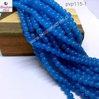 Perla de vidrio 6 mm en color celeste fuerte, tira de 140 perlas aprox.
