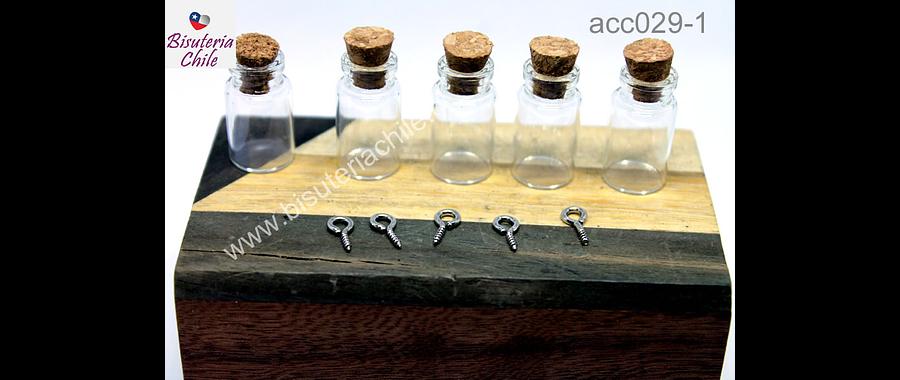 Botellita de vidrio con corcho, 40 mm de largo x 20 mm de ancho, set de 5 unidades (sin gancho)