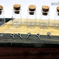 Botellita de vidrio con corcho y gancho para colgar, 31 mm de largo x 15 mm de ancho, set de 5 unidades