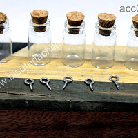 Botellita de vidrio con corcho, 31 mm de largo x 15 mm de ancho, set de 5 unidades (sin gancho)