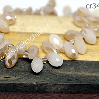 cristal en forma de gota, facetado color café claro tornasol, 12 mm de largo por 6 mm de ancho, set de 10 unidades