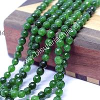 Agata facetada de 6 mm, en tonos verdes, tira de 64 piedras aprox