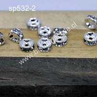 Separador plateado con strass 6 mm de diámetro por 3 mm de ancho set de 10 unidades