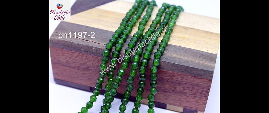 Agata de 4 mm, en tono verde, tira de 90 piedras aprox.
