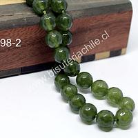 Agata 10 mm en tono verde uva, tira de 38 piedras aprox
