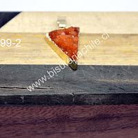 Colgante druzy de agata, con borde dorado, 21 mm de largo x 16 mm de ancho, por unidad