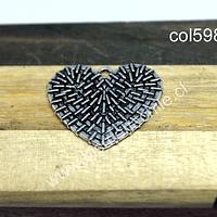 Colgante en forma de corazón plateado, 27 mm x 25 mm, por unidad