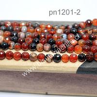Agata de 6 mm en tonos marrones, tira de 62 piedras aprox